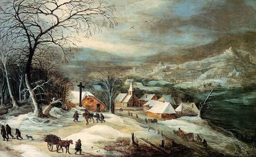 Joos Momper, 1564-1635,  Winter Landscape with Village