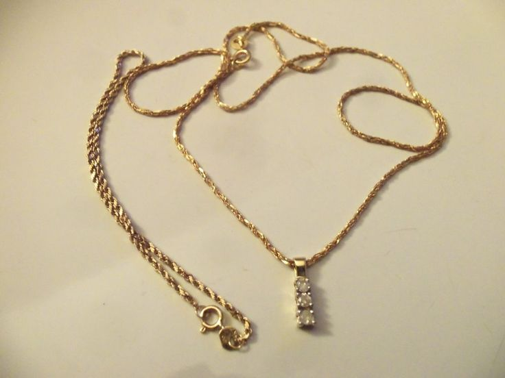 14 KT YELLOW GOLD CHAIN NECKLACE TRIPLE  DIAMOND PENDANT W/14 KT GOLD BRACELET #Pendant