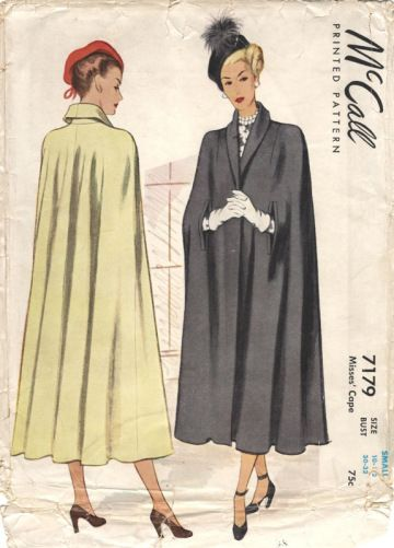 Long, elegant late 1940s capes ~ McCall 7179. #vintage #1940s #sewing_patterns #capes