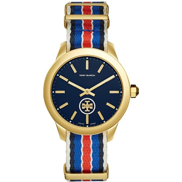 Tory Burch Women's Swiss Collins Multicolor Striped Fabric Strap Watch... ($295) ❤ liked on Polyvore featuring jewelry, watches, multi stripe, multi colored jewelry, colorful watches, gold tone jewelry, tri color jewelry and tory burch jewellery