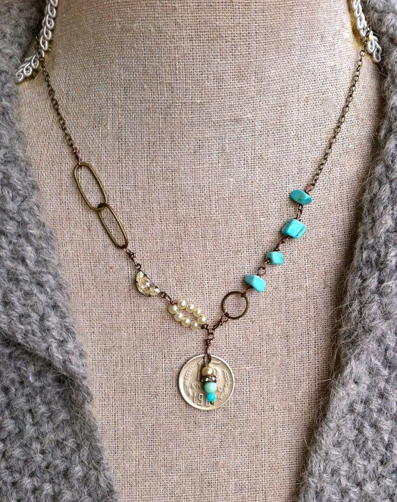 Justine. turquoise gemstone,pearl,vintage coin necklace. tiedupmemories