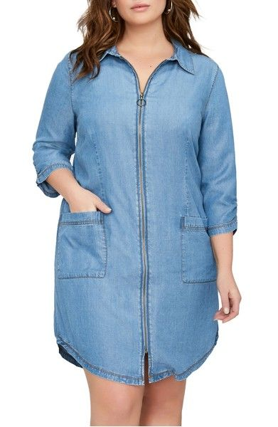 Main Image - ADDITION ELLE LOVE AND LEGEND Zip Front Chambray Dress (Plus Size)