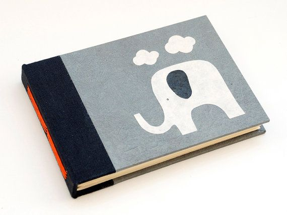 Clouds Elephant handmade long stitched notebook/journal by PiCKEE, €15.65