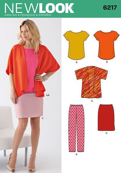 Misses' kimono style jacket and tee have an easy extended sleeve and bias binding at neckline. Pencil skirt and slim pants have side zip. New Look sewing pattern.
