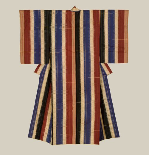 A silk kimono featuring wide vertical color bands, highlighted with metallic threads. Taisho period (1912-1926). The Kimono Gallery
