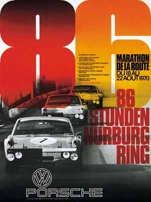 PORSCHE RENNPLAKAT  Nürburgring 1970. VW Porsche