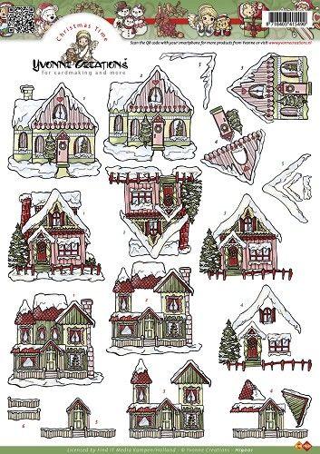 Knutselkraam.nl | 3D A4 Knipvel Yvonne Creations - Kerst huisjes HJ9001