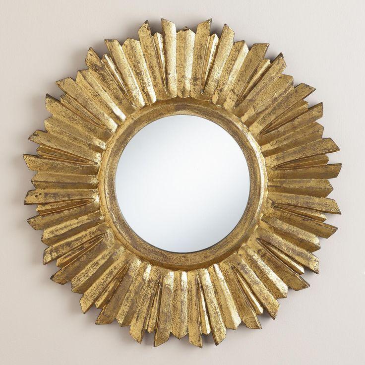 Small Antique Gold Leila Sunburst Mirror | World Market