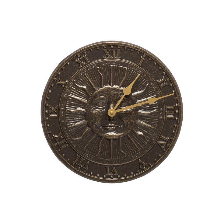 Aluminum Sunface Outdoor Clock - Brown - Whitehall Products
