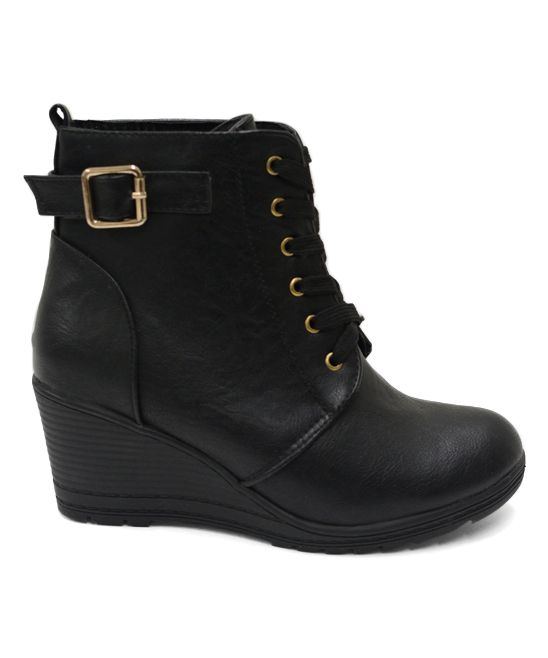 Black Buckle Wedge Ankle Boot