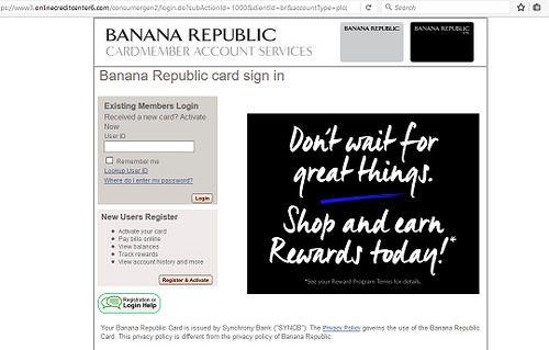 Banana Republic Credit Card Login and Payment