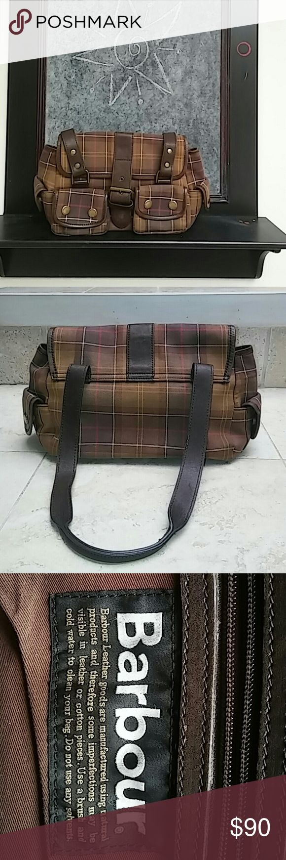 🔥Flash sale🔥 Small Barbour bag Brown/green/gold/red/cream earth tone colors. The fabric, leather and quality of this bag is top notch. I love the style and size of this bag. Perfect for travelling with your necessities. People right away will know you have a high end bag. It's that obvious. Hard to find in the U.S Barbour Bags Mini Bags