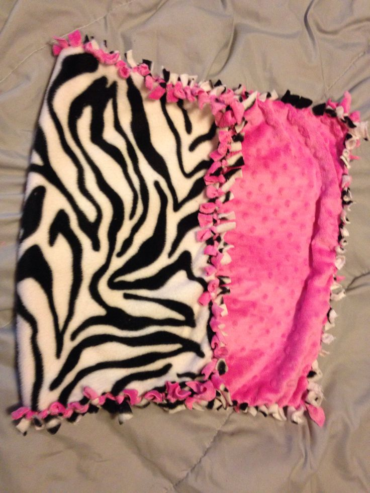 Zebra/pink tie blanket car seat size No sew fleece