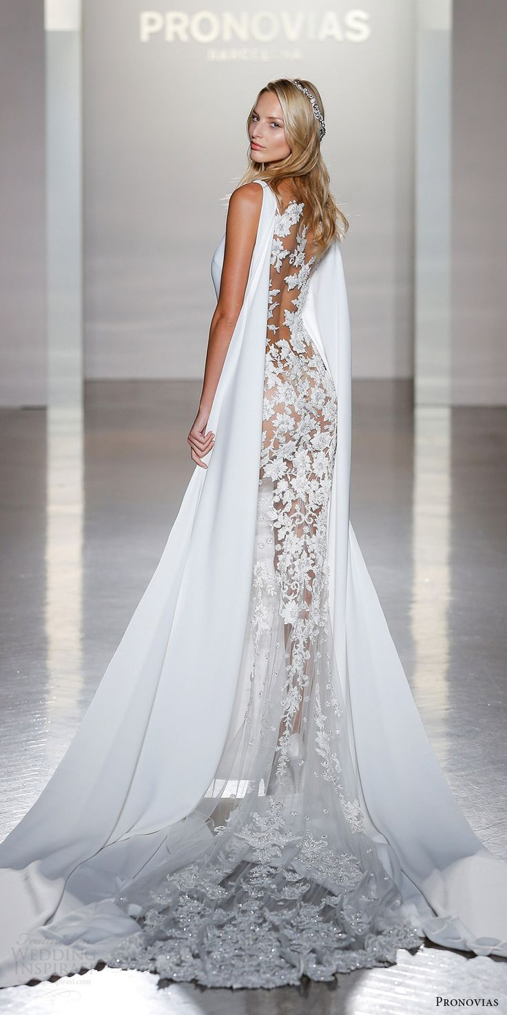 ideaslace wedding dresses wedding dress with cape Atelier Pronovias Collection New York Bridal Fashion Show Highlights