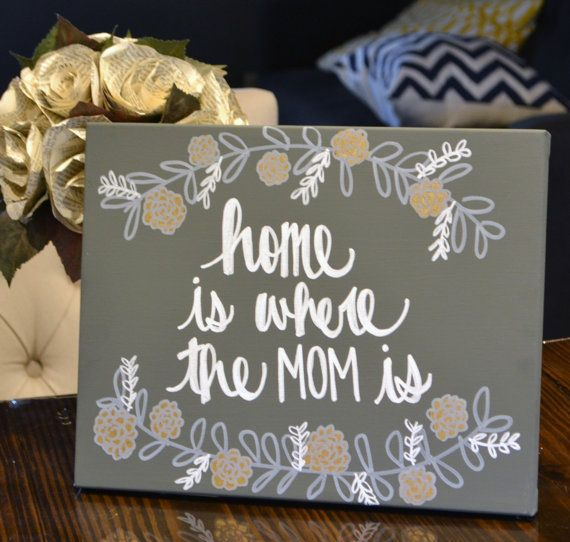 Home Is Where The Mom Is Canvas Painting Mothers Day Gift