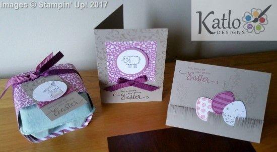 """Stampin' Up! Easter Cards Barnyard Babies, Made With Love, Birthday Adventure stamp sets. Made this little suite of projects in my Wednesday morning """"We Create Wednesday"""" class"""