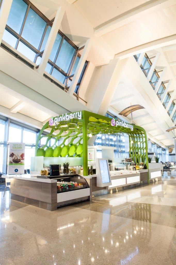 Pinkberry Kiosk LAX Tom Bradley Terminal Canopy Design by Arktura