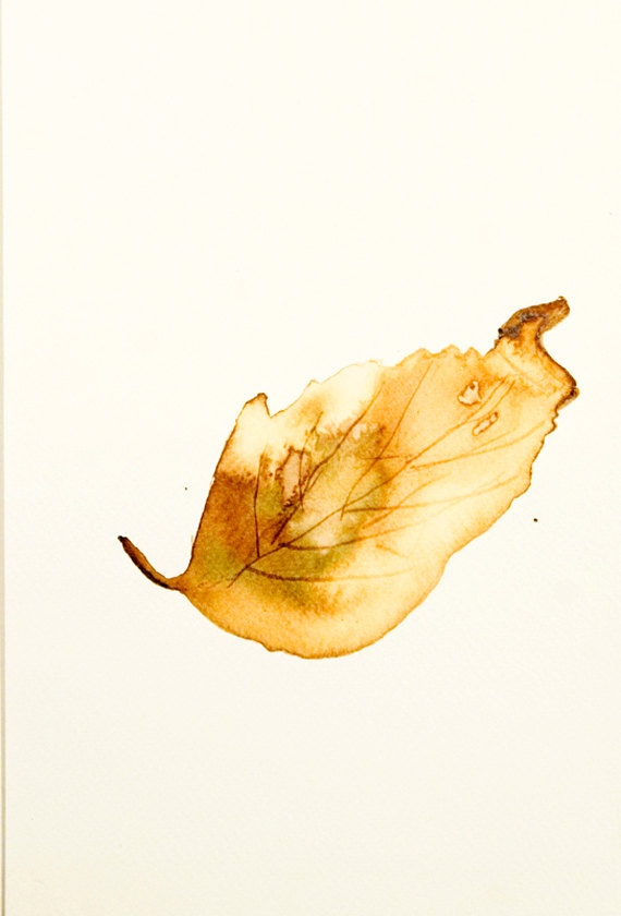 AUTUMN SALE. Falling leaves: brown and gold leaf original ...