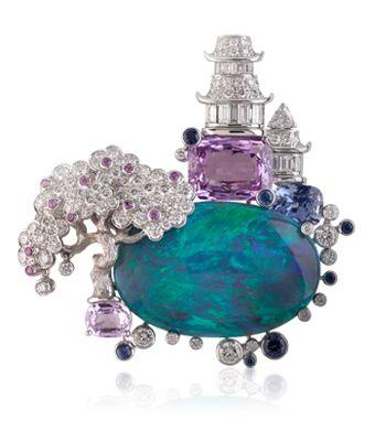 Van Cleef & Arpels, Nuit d'Orient clip; opal, diamonds and violet sapphires.