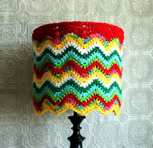 Eclectic Lamp Shade Crocheted Chevron Colorful Housewares Hippie Lighting OOAK Unique Unusual