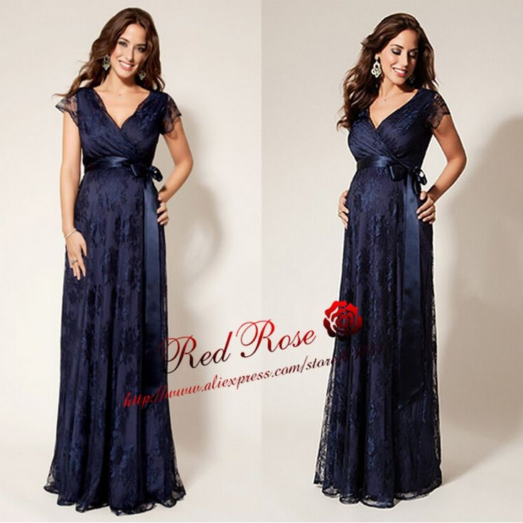 Elegant Lace Evening Dresses for Pregnant Women with Cap Sleeves Maternity Evening Dresses
