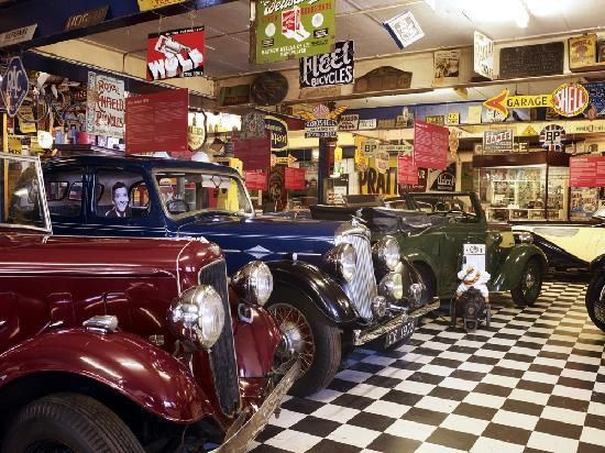 Cotswold Motor Museum. Like a small vintage garage shop, contiaining cars and more. Bourton on the Water, UK.