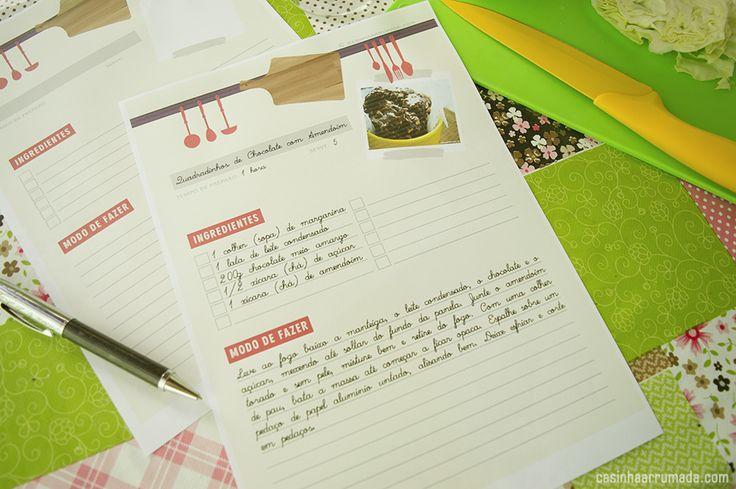 Folha de receita para download - Faça o seu próprio caderno de receitas! - Casinha Arrumada
