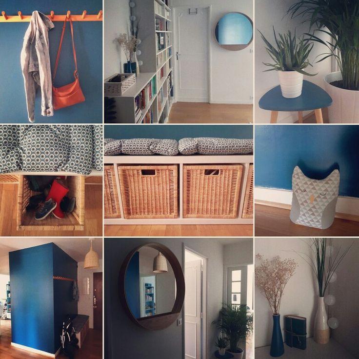 cheap entre peinture bleue mur bleu banquette ikea kallax coussins imprim floral with porte. Black Bedroom Furniture Sets. Home Design Ideas
