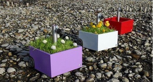 XXD Schirmständer Flowerpower Pflanztrog Sonnenschirm Ständer Ständer weiß grau