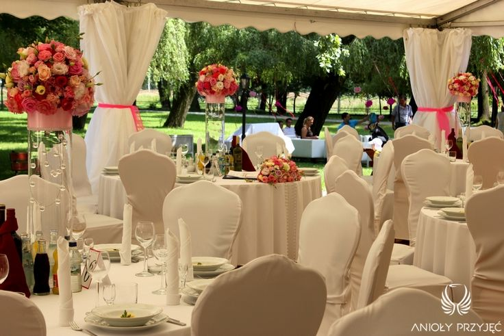 14.  Pink Wedding,Tent,Centerpiece / Różowe wesele,Namiot,Dekoracje stołu,Anioły Przyjęć