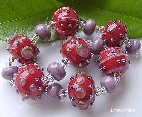 lina khan lampwork beads acelya red rounds with bling dots of triton and