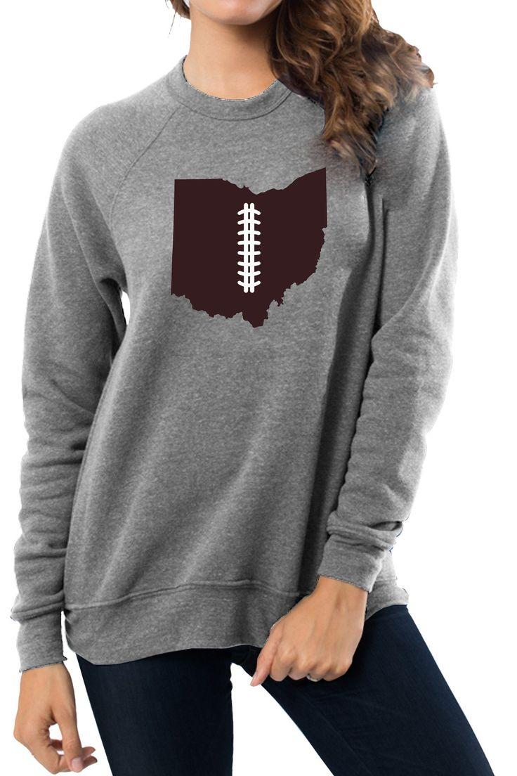 """""""Ohio Football Life"""" Unisex Sponge Fleece Crew Neck Sweatshirt/Heather Grey"""