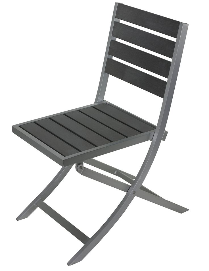 Maxwell Aluminum Outdoor Folding Chair in Slate Grey Poly Wood, Brushed Nickel 1 chair. Folding Chair. Weather Resistant. Recycled Plastic.
