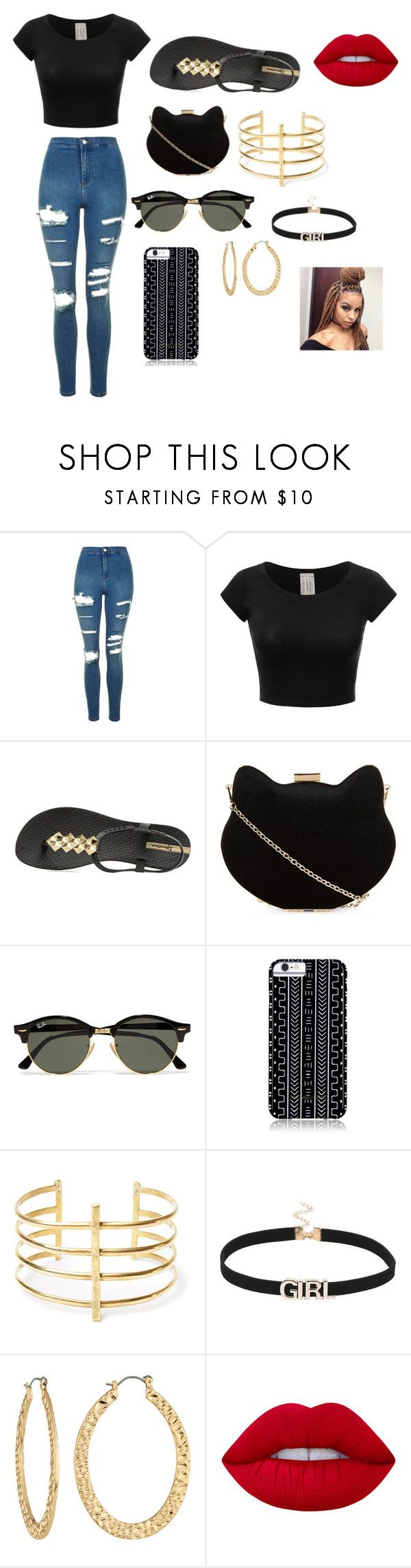 """Untitled #34"" by barnessh on Polyvore featuring Topshop, IPANEMA, New Look, Ray-Ban, Savannah Hayes, BauXo, Fragments and Lime Crime"