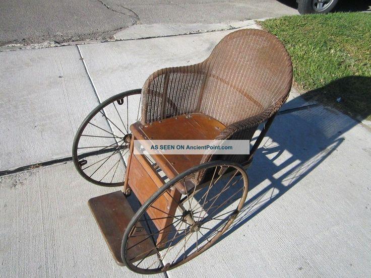Vintage gendron wheel wheelchair antique wood wicker