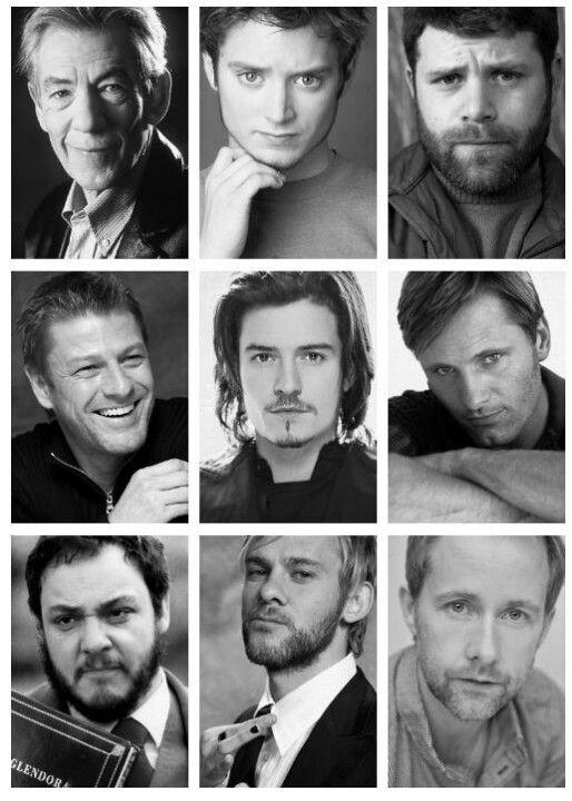 The Fellowship. Gandalf, Frodo, Sam, Boromir, Legolas, Aragorn, Gimli, Merry, Pippin. <3