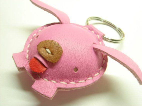 Candy the Pig Leather Keychain  Pink  by leatherprince on Etsy, $18.90