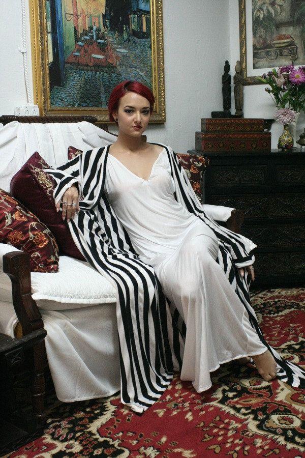 Noir et blanc rayure Robe lune de miel Lingerie de mariée