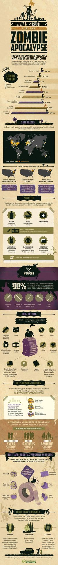 More zombie survival tips! Be ready for that next flesh-eating outbreak with this handy guide. #zombies #infographic #survival: