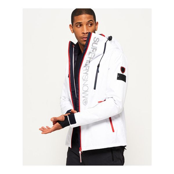 Superdry Super SD Multi Jacket (345 AUD) ❤ liked on Polyvore featuring men's fashion, men's clothing, men's activewear, men's activewear jackets and white