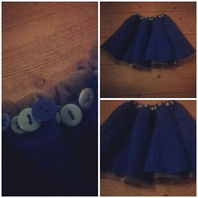 #Skirt for my little girl. Made without a sewing machine. :) #buttons #diy #sewing