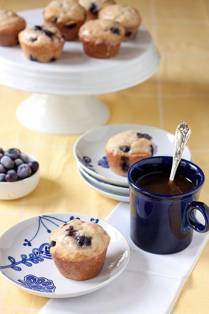 Lemon glazed blueberry donut muffins