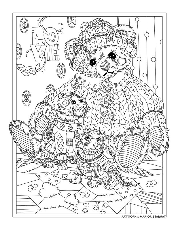 Teddy Bear With DogsLove Coloring PageLine Art Drawing