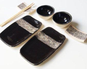 White Sushi Set 6 Pieces Serving Set for 2 Sushi Dish by bemika