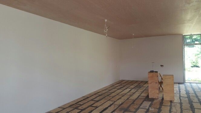 Ceiling complete, one more coat, timber floors being prepared.