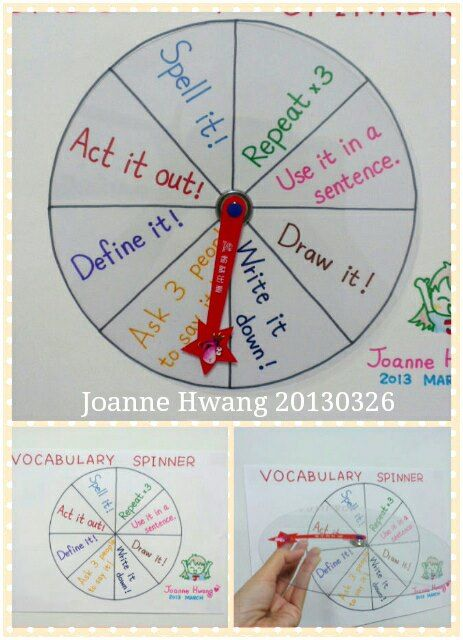 Vocabulary game...use with the spinners on my board (picture only)