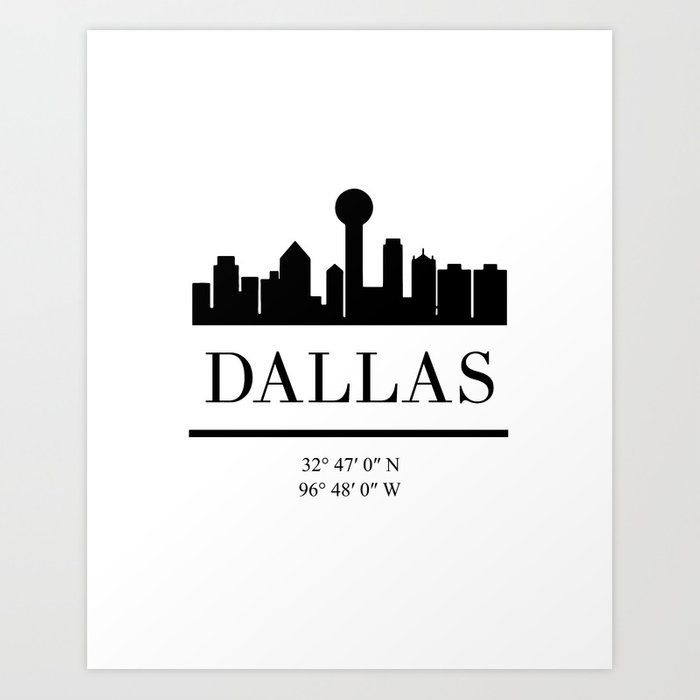 Dallas Texas Black Silhouette Skyline Art Skyline Art City Skyline Silhouette Dallas Texas Skyline