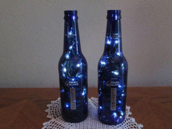 2 Bud Light Platinum Blue Beer Bottle Lights Man by PGTreasures