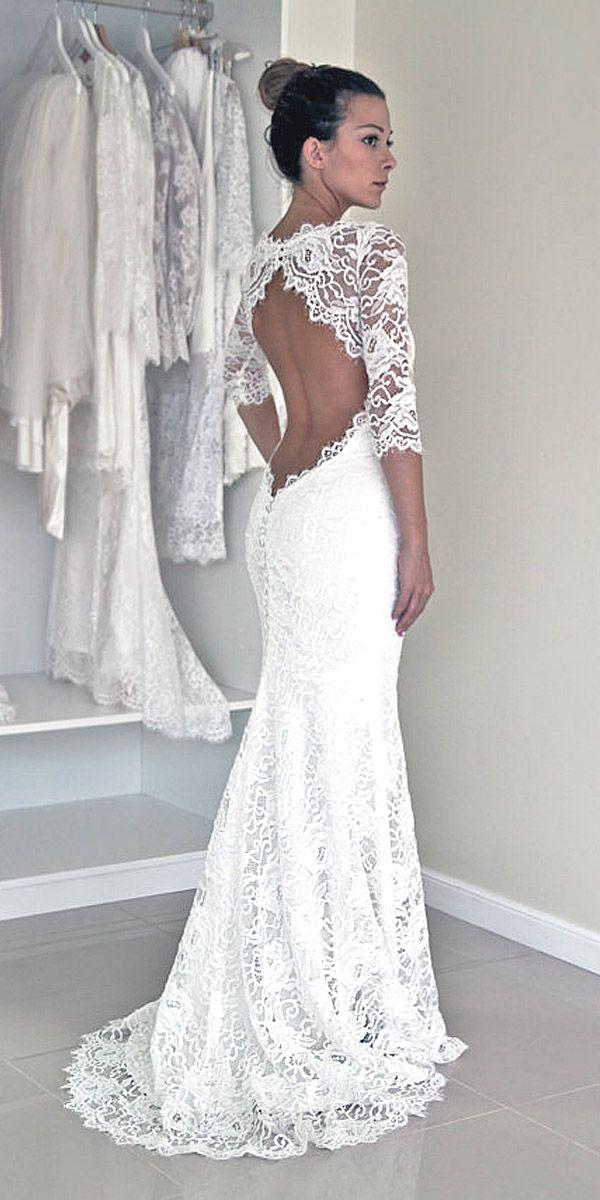 Charming Lace Halter Neckline Sheath Wedding Dresses With Slit ...