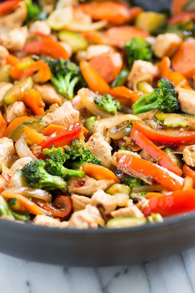 Get the recipe: sweet chili chicken stir-fry                   Image Source: GI 365